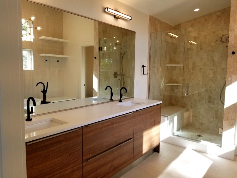 Frameless Marble Tiles Shower n Vanity
