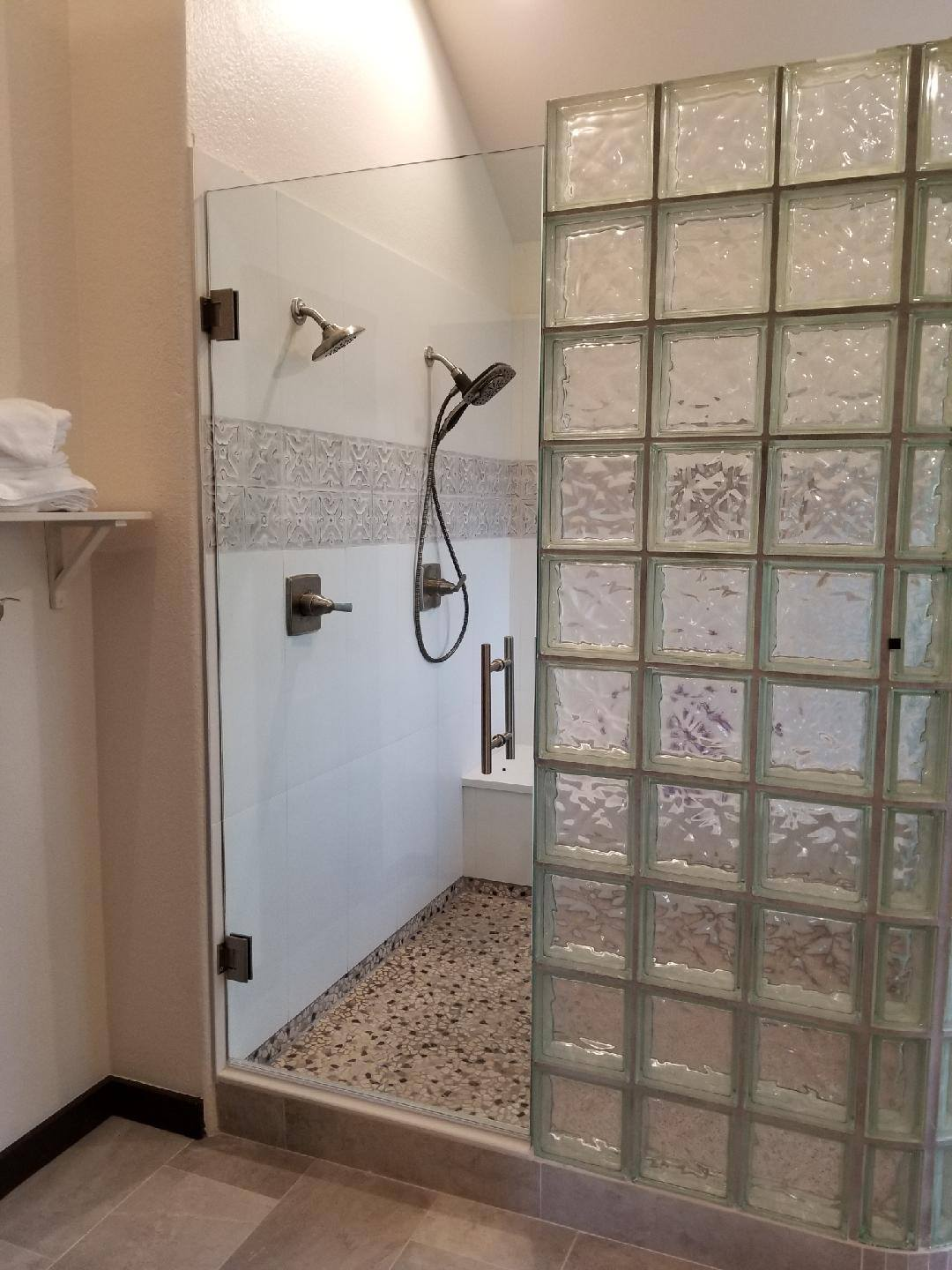 Frameless Tiles w Glass Block Wall w