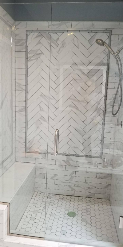Frameless White Herringbone
